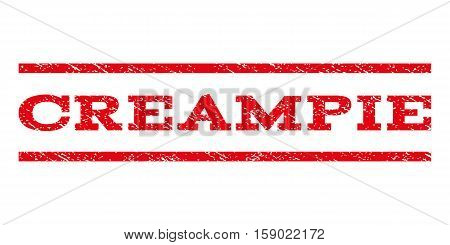 Creampie watermark stamp. Text tag between horizontal parallel lines with grunge design style. Rubber seal stamp with dirty texture. Vector red color ink imprint on a white background.
