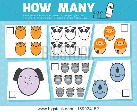 Counting Game for Preschool Children, Game for kids, Learning mathematics, Educational a mathematical game, How many objects on the picture, Counting game animals, Vector Illustration