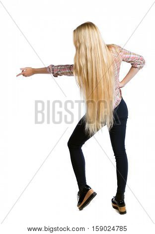 Back view of  pointing woman. beautiful girl. Rear view people collection.  backside view of person.  Isolated over white background. Long-haired girl shows hand side.