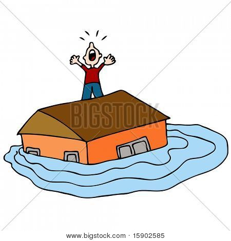 An image of a man on the roof of his flooded house screaming for help.