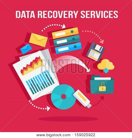 Data recovery services banner. Networking communication and data carriers icons on red background. Data protection, storage service and online cloud storage, security and privacy, safety and backup.