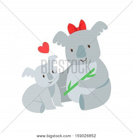 Koala Mom With Red Bow Animal Parent And Its Baby Calf Parenthood Themed Colorful Illustration With Cartoon Fauna Characters. Smiling Zoo Wildlife Loving Family Members United With Heart Symbol Vector Drawing