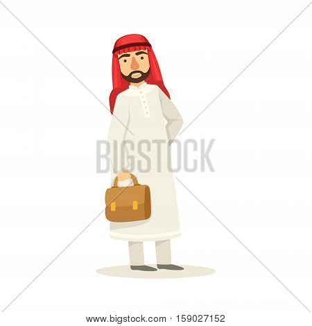 Arabic Muslim Businessman Dressed In Traditional Thwab Clothes And Wearing Headdress Kufiya Holding Suitcase Working In Financial Business Sphere. Cartoon Arab Rich Sheikh Character In Islamic Outfit Flat Vector Illustration.