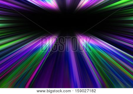 Colourful purple and green starburst light trails with a black copy space centre