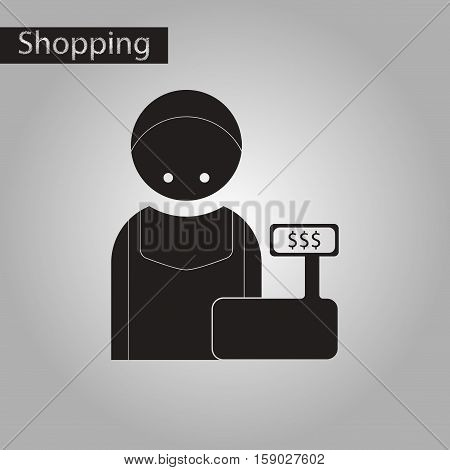 black and white style icon of cashier