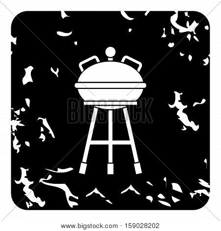 Kettle barbecue grill icon. Grunge illustration of kettle barbecue grill vector icon for web