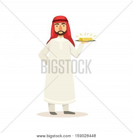 Arabic Muslim Businessman Dressed In Traditional Thwab Clothes And Wearing Headdress Kufiya Working In Financial Business Sphere Holding Gold Bar On Plate. Cartoon Arab Rich Sheikh Character In Islamic Outfit Flat Vector Illustration.