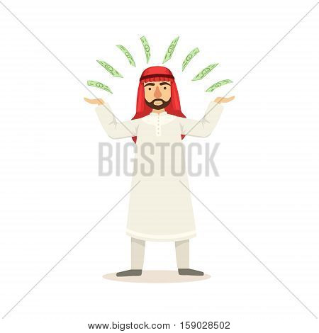 Arabic Muslim Businessman Dressed In Traditional Thwab Clothes And Wearing Headdress Kufiya Working In Financial Business Sphere Juggling Money. Cartoon Arab Rich Sheikh Character In Islamic Outfit Flat Vector Illustration.