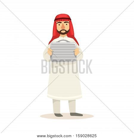 Arabic Muslim Businessman Dressed In Traditional Thwab Clothes And Wearing Headdress Kufiya Working In Financial Business Sphere Holding Metal Money Suitcase. Cartoon Arab Rich Sheikh Character In Islamic Outfit Flat Vector Illustration.