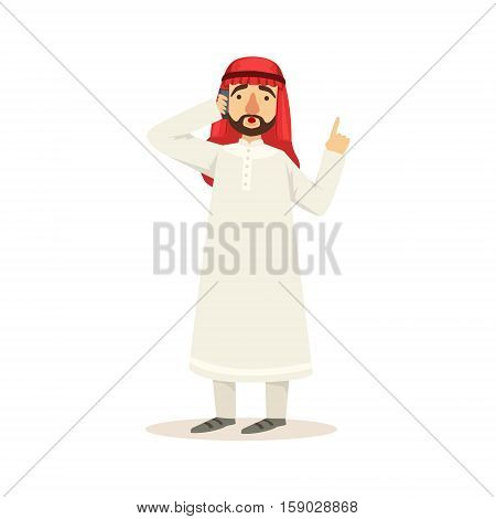 Arabic Muslim Businessman Dressed In Traditional Thwab Clothes And Wearing Headdress Kufiya Working In Financial Business Sphere Having Heated Conversation On Phone. Cartoon Arab Rich Sheikh Character In Islamic Outfit Flat Vector Illustration.