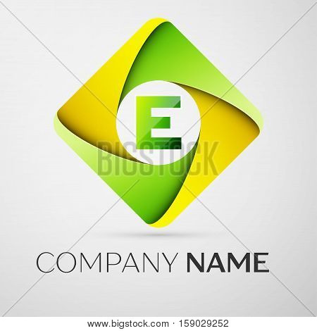 Letter E vector logo symbol in the colorful rhombus. Vector template for your design