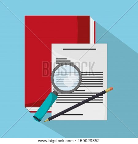 Book document and lupe icon. Worktime office supplies and workforce theme. Colorful design. Vector illustration