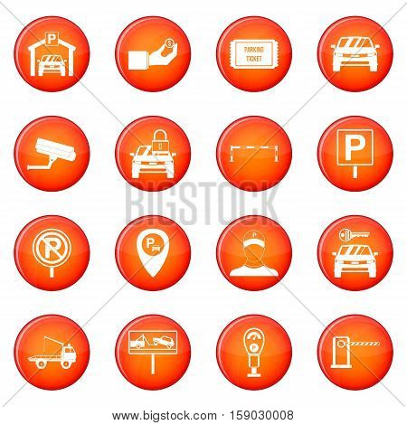 Parking set icons vector set of red circles isolated on white background