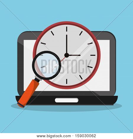 Laptop clock and lupe icon. Worktime office supplies and workforce theme. Colorful design. Vector illustration