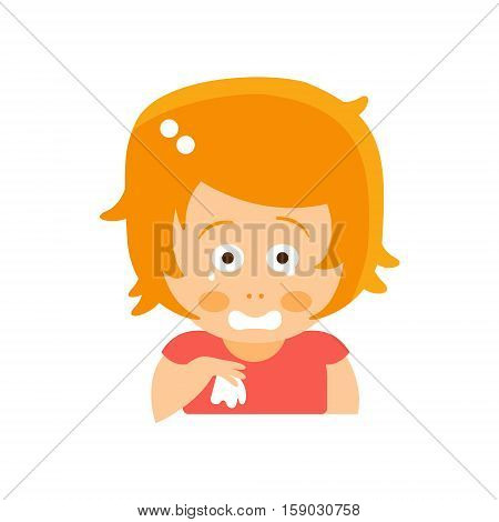 Little Red Head Girl In Red Dress Crying With Handkerchief Flat Cartoon Character Portrait Emoji Vector Illustration. Part Of Emotional Facial Expressions And Activities Of Small Cute Kid.