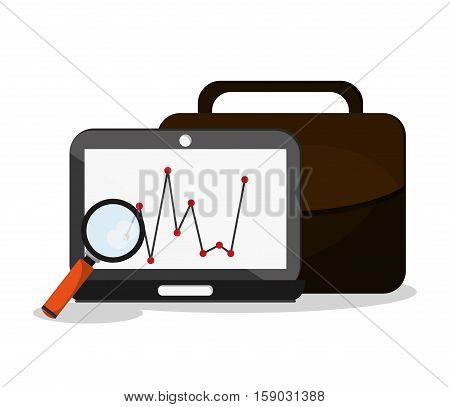 Laptop and lupe icon. Worktime office supplies and workforce theme. Colorful design. Vector illustration