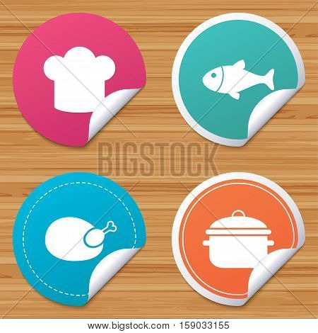 Round stickers or website banners. Chief hat and cooking pan icons. Fish and chicken signs. Boil or stew food symbol. Circle badges with bended corner. Vector