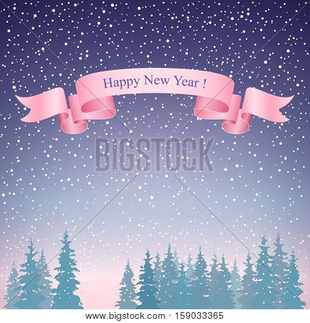 Snowfall in the Forest, Happy New Year Landscape in Purple Shades ,Pink Ribbon ,Winter Background ,Vector Illustration