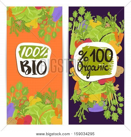 Organic food vertical flyers set vector illustration. Natural cabbage, tomato, radish, mushroom, peppers, potatoes, carrots. Vegetarian organic raw food, healthy lifestyle, bio and eco nutrition