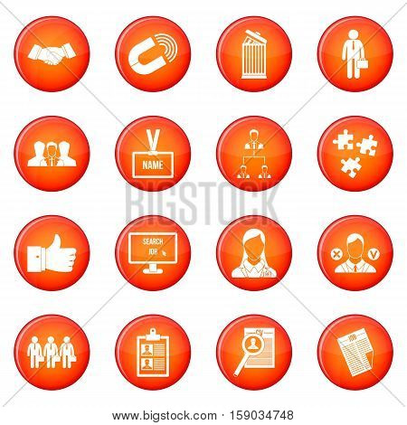 Human resource management icons vector set of red circles isolated on white background