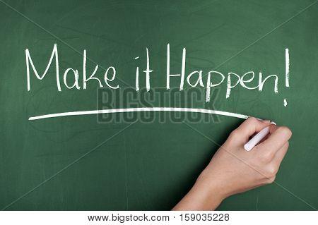 Motivation concept hand writing motivational note on blackboard
