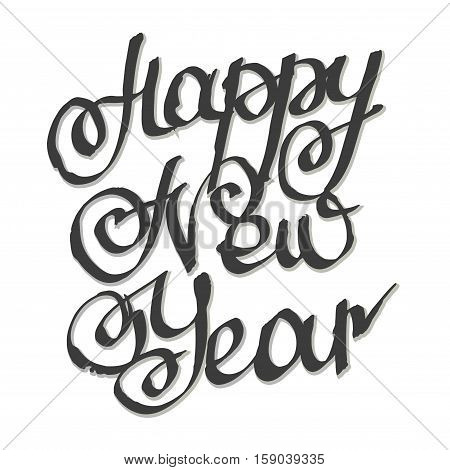 Happy New Year. Lettering. Vector Illustration hand calligraphy