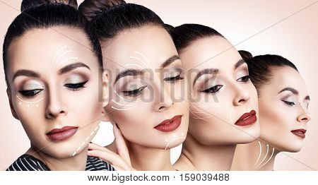Four faces of young woman with lifting arrows over beige background