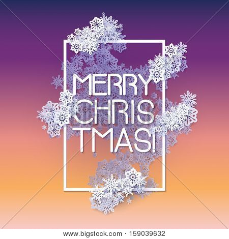 Snow frame with Merry Christmas text.. Winter frame made of snowflakes of various size. New Year, Christmas blue and purple abstract background.