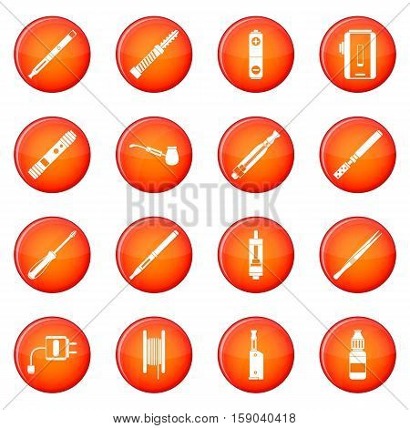 Vaping icons vector set of red circles isolated on white background