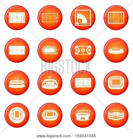 Sport stadium icons vector set of red circles isolated on white background