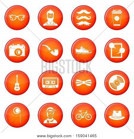 Hipster icons vector set of red circles isolated on white background