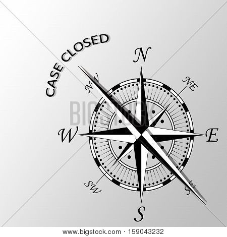 Illustration of case closed written aside compass