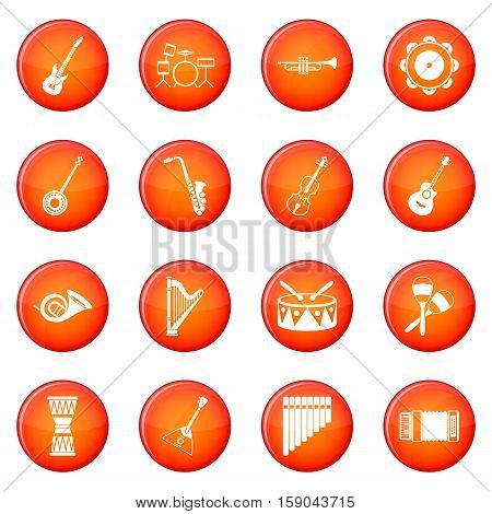 Musical instruments icons vector set of red circles isolated on white background