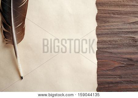 Feather pen and blank paper on wooden table closeup