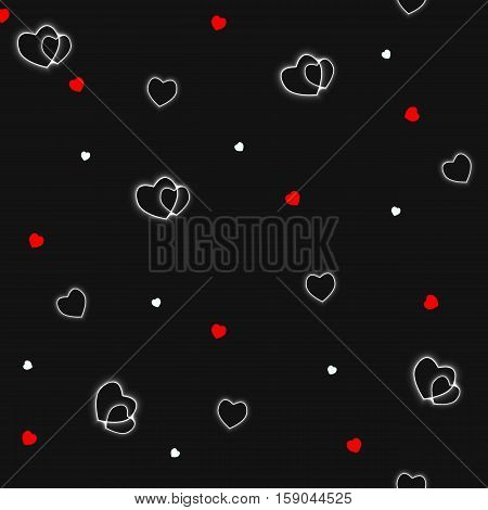 seamless pattern with hearts on a black background