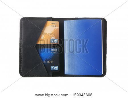 Opened black leather wallet with passport and credit cards isolated on white