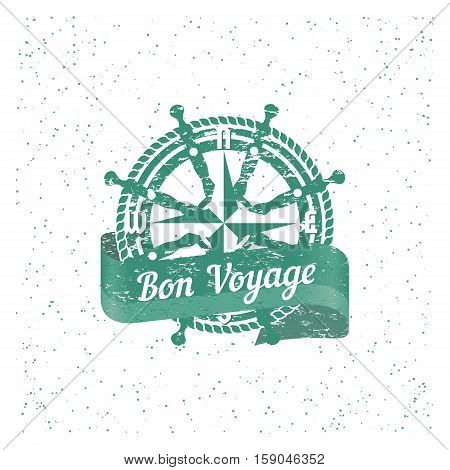 Travel nautical icon Bon Voyage. Vintage retro poster concept. Steering helm compass stamp. Design idea for ocean cruise ship tour emblem. Vector holiday trip advertisement label background