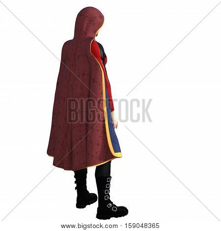 One young man in a super suit and a red cloak. He stands with his back to the camera half turned. 3D rendering, 3D illustration