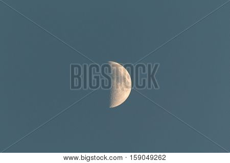 Beautiful crescent moon in a blue sky