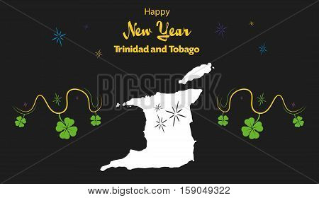 Happy New Year Illustration Theme With Map Of Trinidad And Tobago