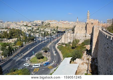 JERUSALEM ISRAEL 25 10 16: Walls of Jerusalem surround the Old City of Jerusalem. In 1535 when Jerusalem was part of the Ottoman Empire, Sultan Suleiman I ordered the ruined city walls