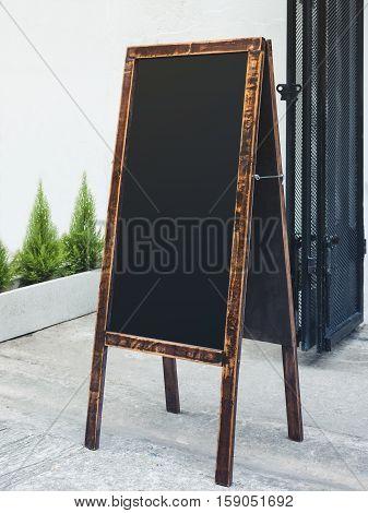 Signboard Stand Blank Chalkboard wooden frame Restaurant Shop Menu outdoor