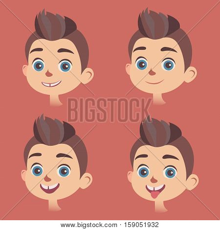 Vector set of little boys faces with different kinds of facial expressions. Smiling, calm, astonished faces, with sticking out tongue. Feelings and emotions concept design elements.