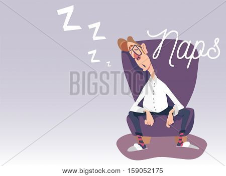 Vector illustration of dad sitting in an armchair, taking a nap, sleeping, having rest. Naps lettering. Comic cartoon character.