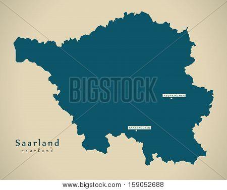 Modern Map - Saarland DE Germany illustration