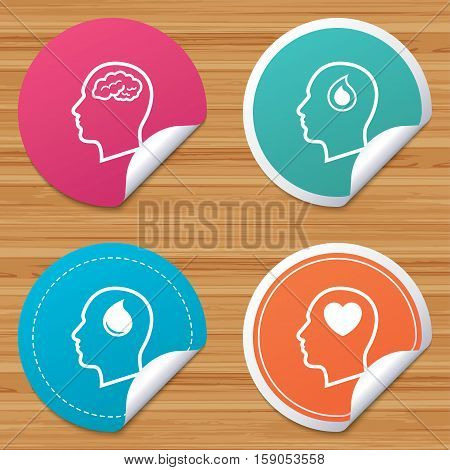 Round stickers or website banners. Head with brain icon. Male human think symbols. Blood drop donation sign. Love heart. Circle badges with bended corner. Vector