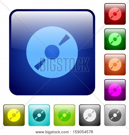 DVD disk color glass rounded square button set