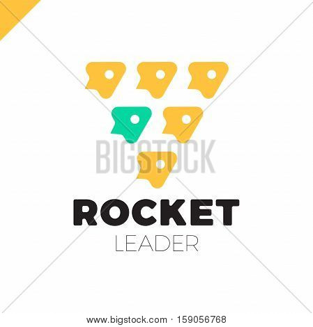 Group Of Six Rocket In The Triangle Vector Logo Design Template. Jet Icon. One Rocket Leader