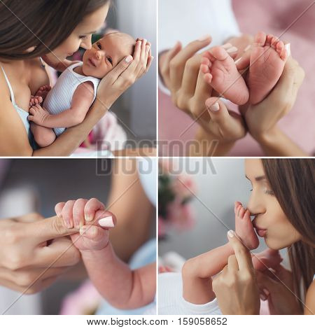 A collage of four photos of a happy mother and a newborn son,baby on hands at mum,the mother kisses the leg of child,boy holding his mother's index finger,the legs of the baby in the hands of a happy mother.
