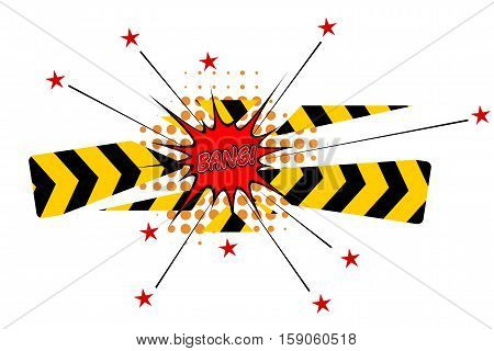 Cartoon explosion with disrupted barrier and stars